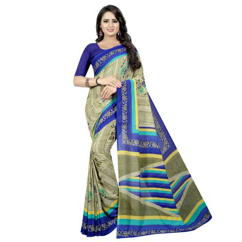 Mesmeric Light Olive Green Colored Casual Wear Printed Georgette Saree