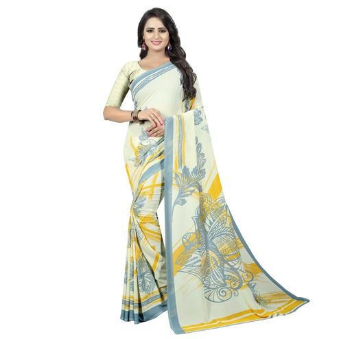 Flaunt Off White Colored Casual Wear Printed Georgette Saree