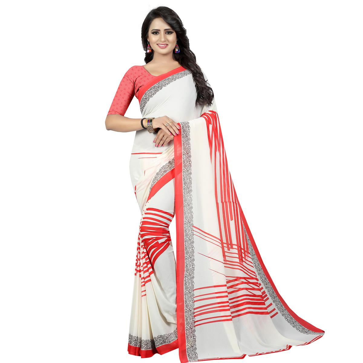 Jazzy White Colored Casual Wear Printed Georgette Saree
