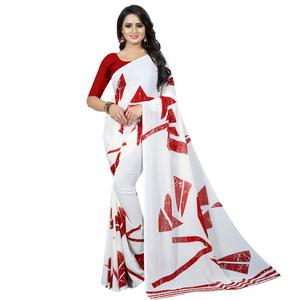 Appealing White Colored Casual Wear Printed Georgette Saree