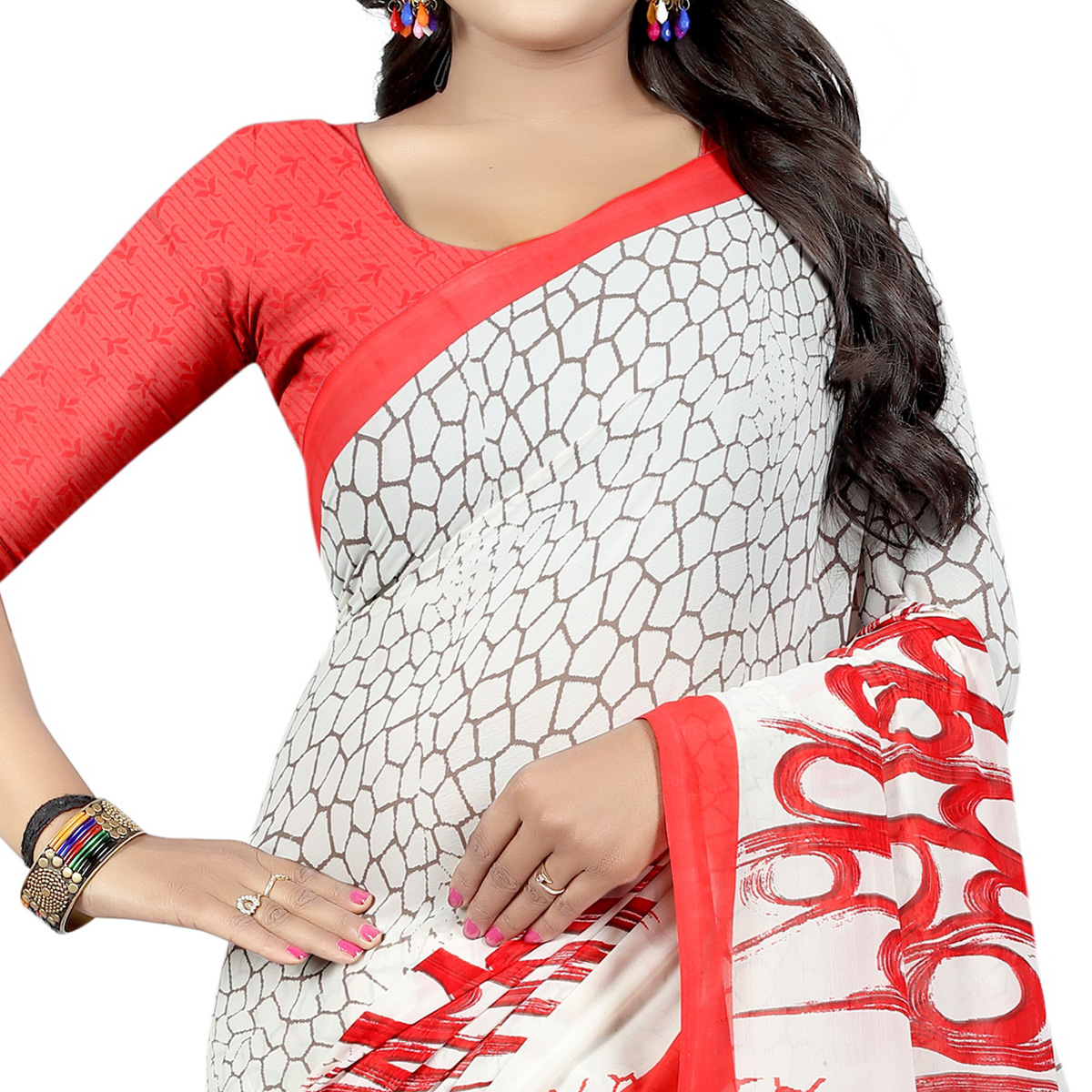 Capricious White Colored Casual Wear Printed Georgette Saree