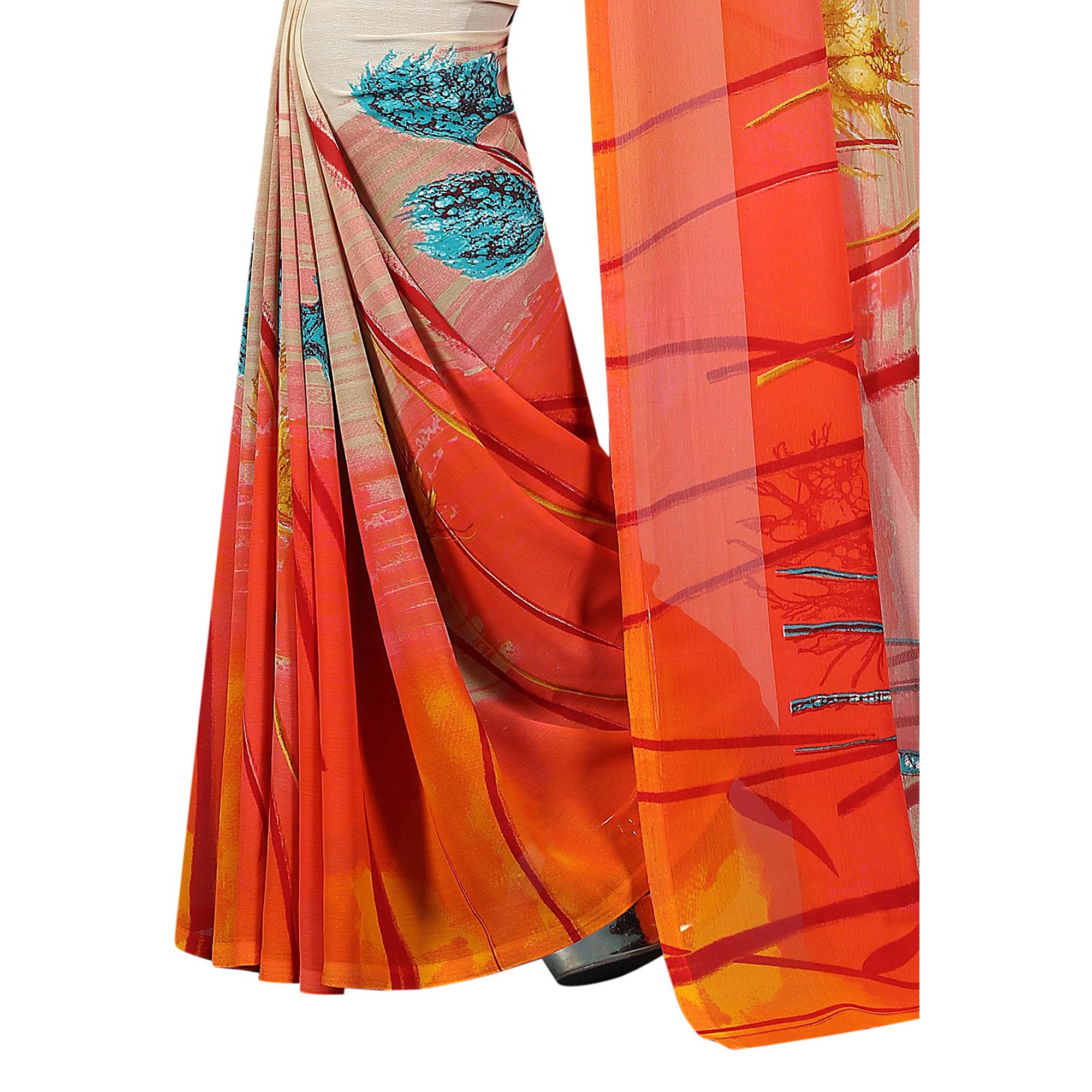Adorning Red Colored Casual Wear Printed Georgette Saree