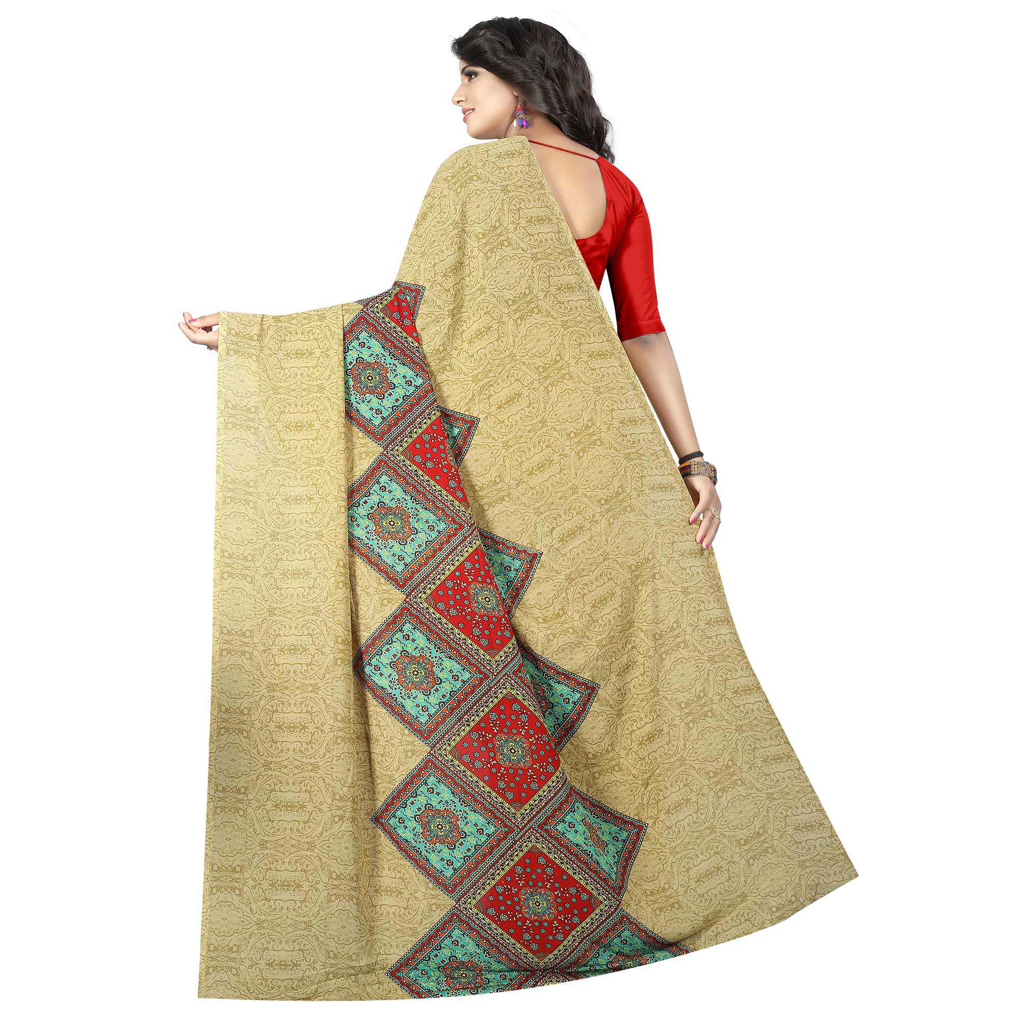 Captivating Beige Colored Casual Wear Printed Georgette Saree