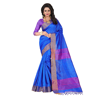 Adorable Blue Festive Wear Cotton Saree