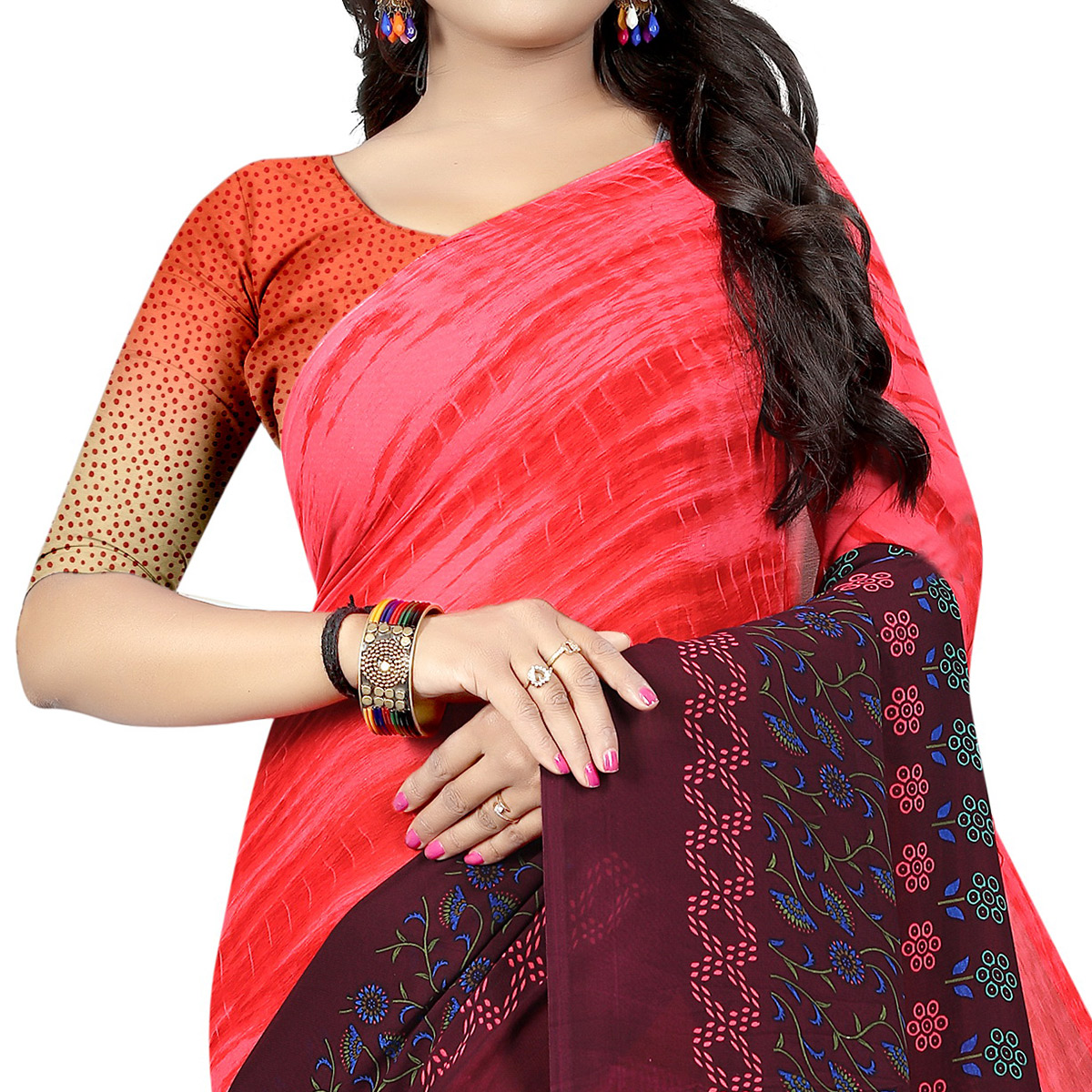 Attractive Wine - Red Colored Casual Wear Printed Georgette Saree