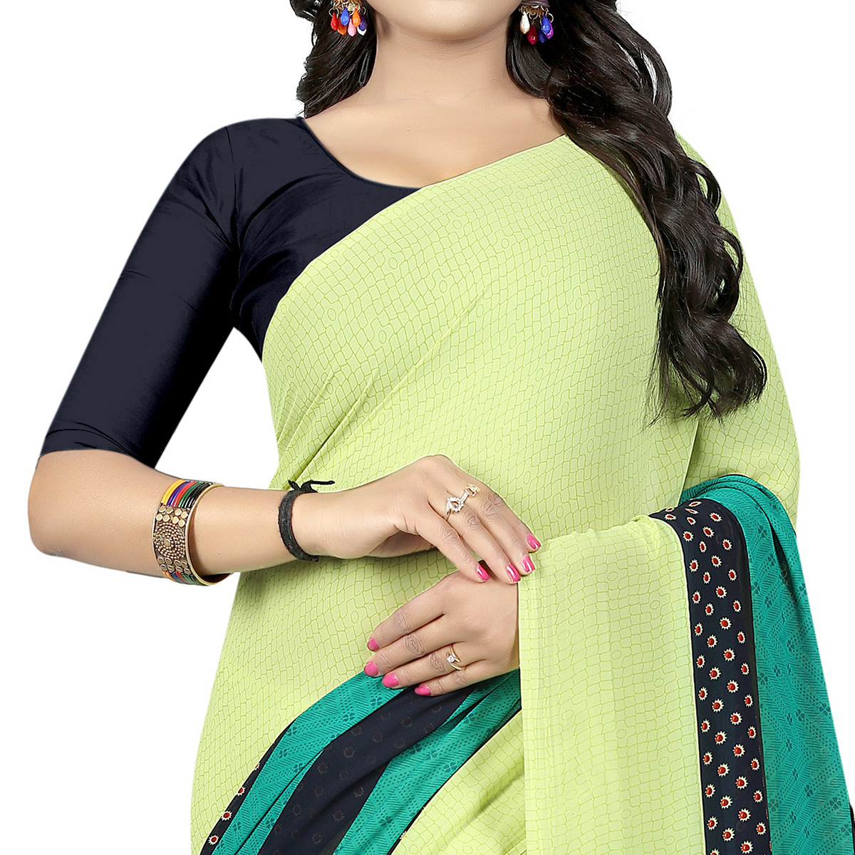Gorgeous Pista Green Colored Casual Wear Printed Georgette Saree