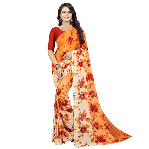 Classy Orange Colored Casual Wear Printed Georgette Saree