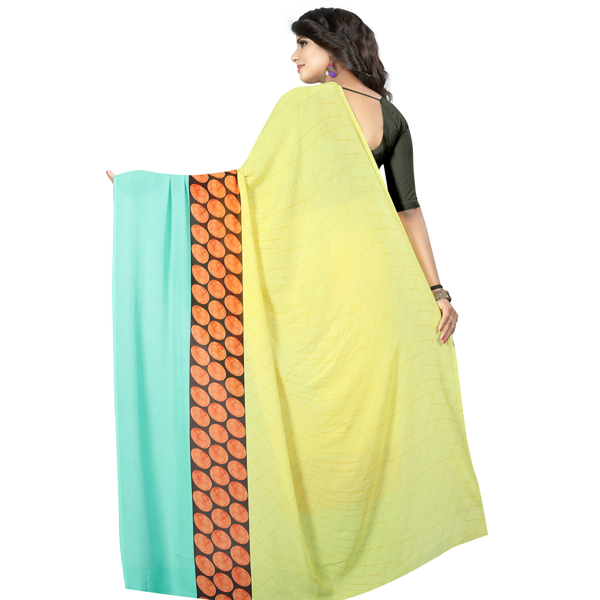 Glorious Yellow Colored Casual Wear Printed Georgette Saree