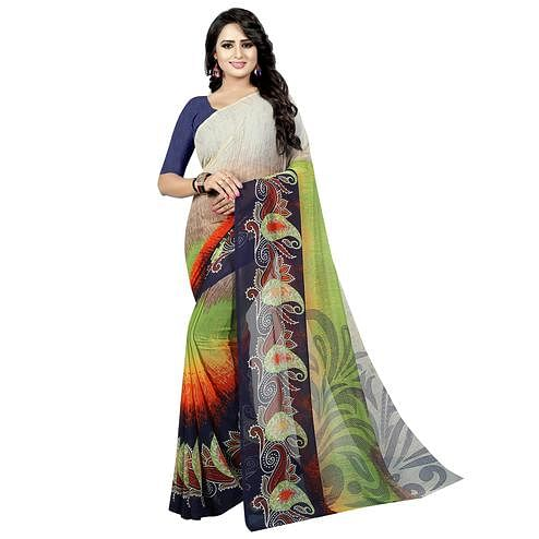 Graceful Multi Colored Casual Wear Printed Georgette Saree
