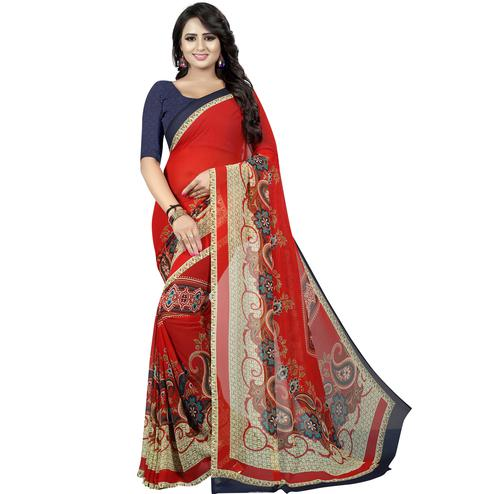 Lovely Red Colored Casual Wear Printed Georgette Saree