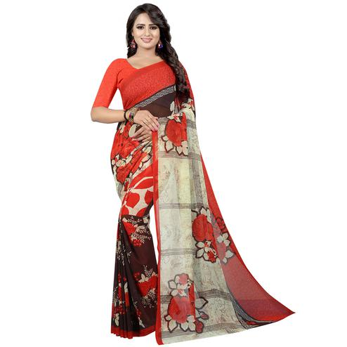 Pretty Red Colored Casual Wear Printed Georgette Saree