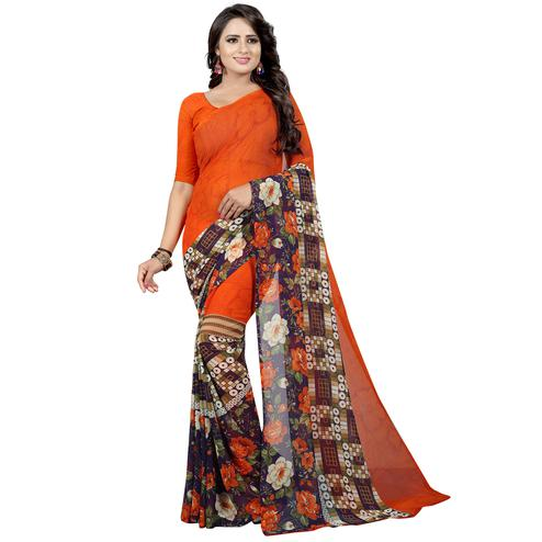Charming Orange Colored Casual Wear Printed Georgette Saree