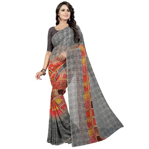 Ravishing Grey Colored Casual Wear Printed Georgette Saree