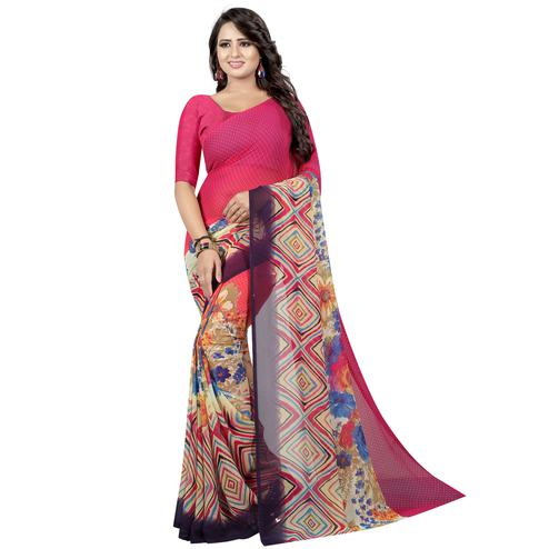 Delightful Pink Colored Casual Wear Printed Georgette Saree