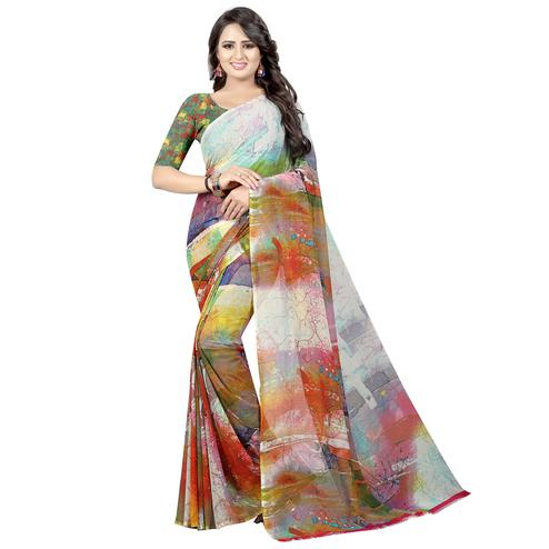 Stunning Multi Colored Casual Wear Printed Georgette Saree