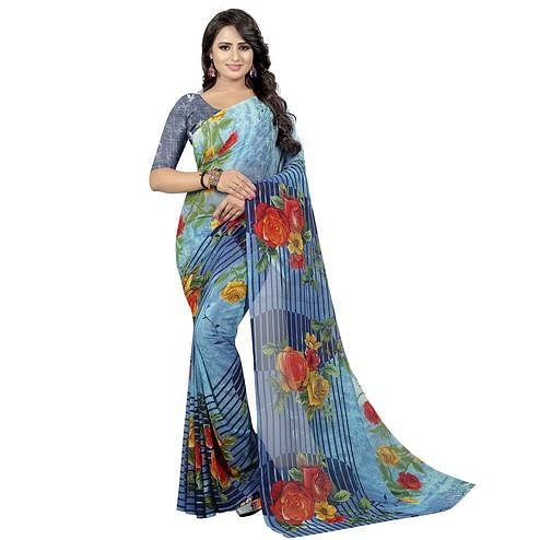 Blooming Blue Colored Casual Wear Printed Georgette Saree