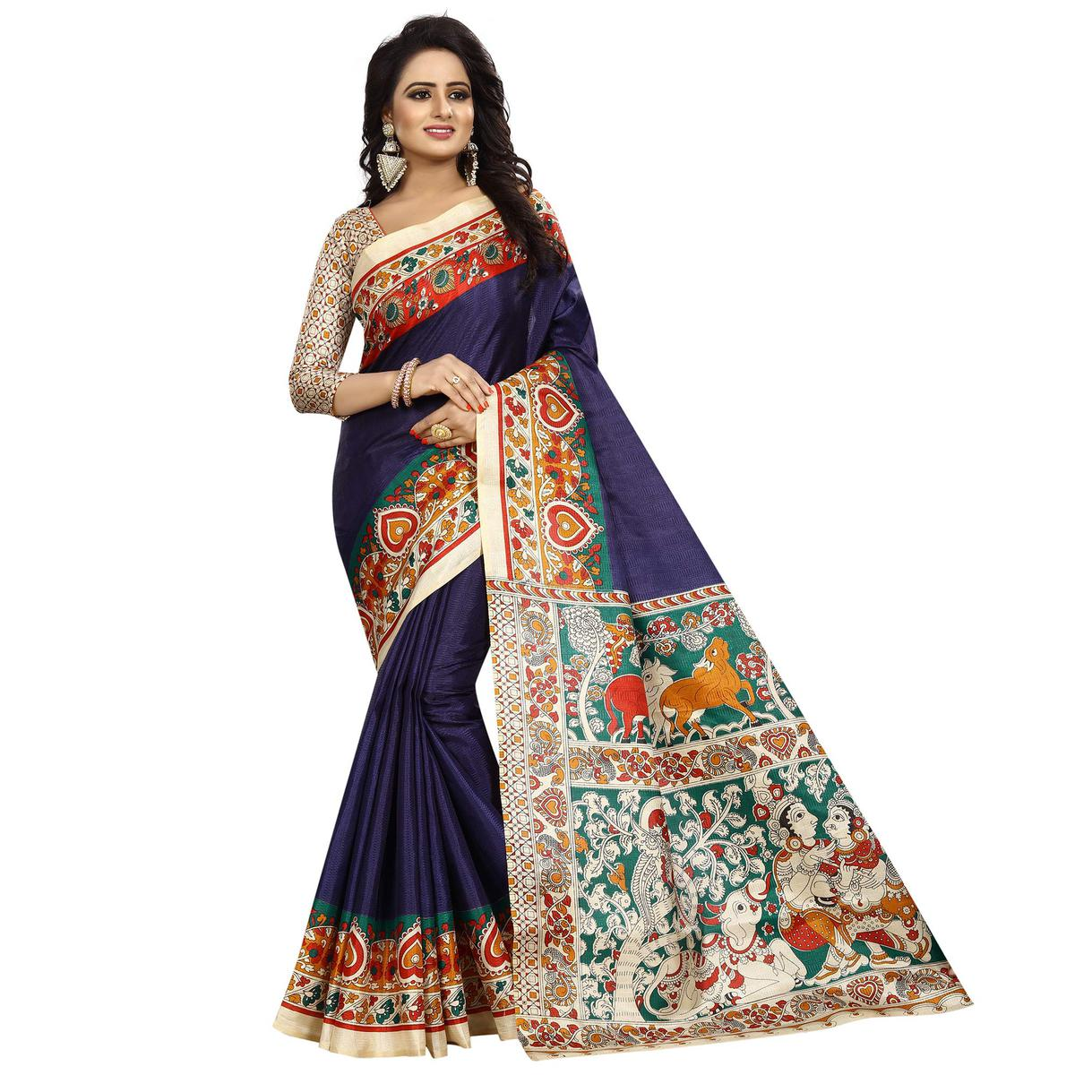 Marvellous Navy Blue Colored Casual Wear Printed Kalamkari Silk Saree
