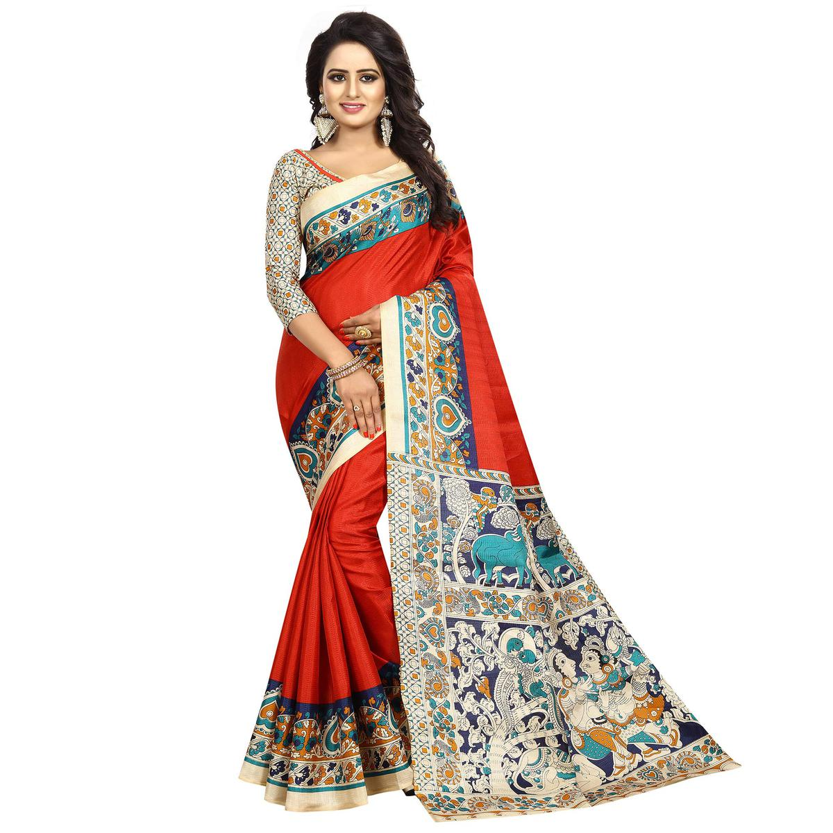 Mesmerising Red Colored Casual Wear Printed Kalamkari Silk Saree