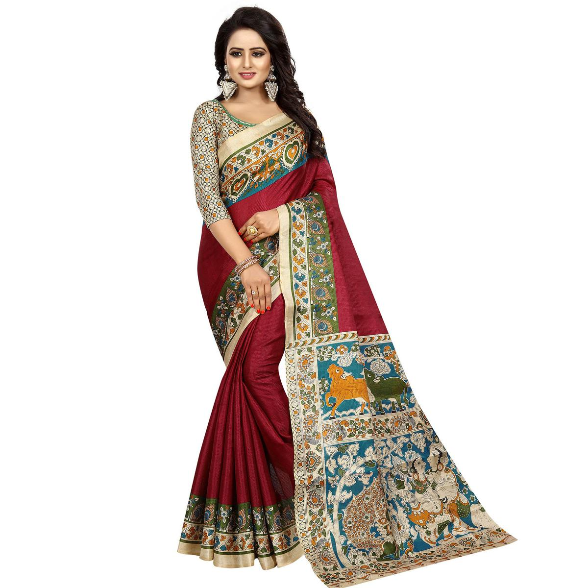 Ravishing Wine Colored Casual Wear Printed Kalamkari Silk Saree