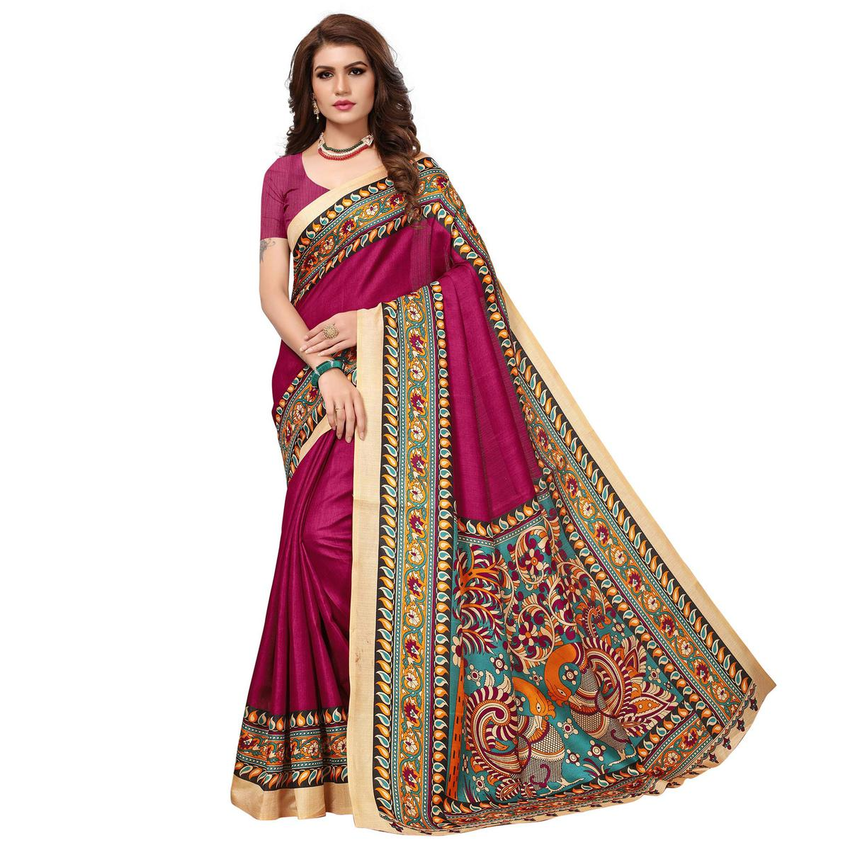 Eye-catching Magenta Pink Colored Casual Wear Printed Kalamkari Silk Saree