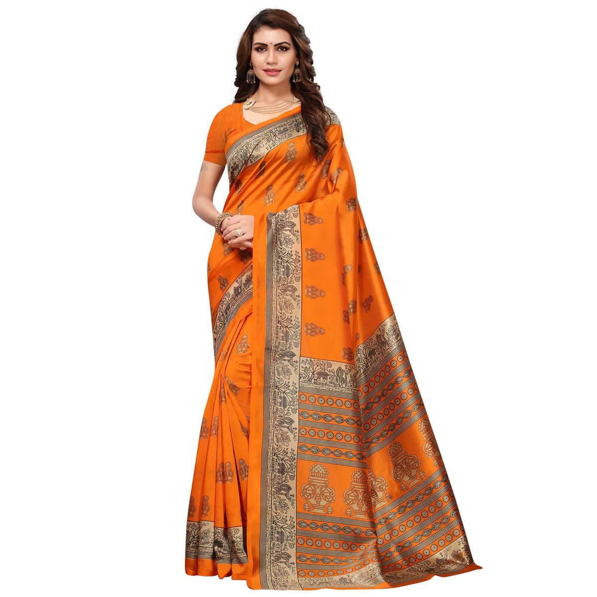 Adorable Mustard Colored Festive Wear Printed Mysore Silk Saree