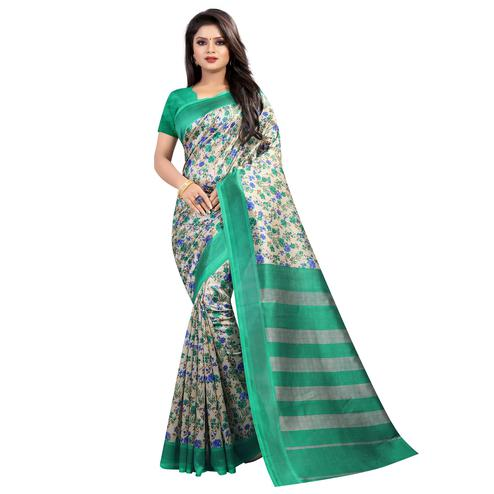 Attractive Green Colored Festive Wear Printed Mysore Silk Saree