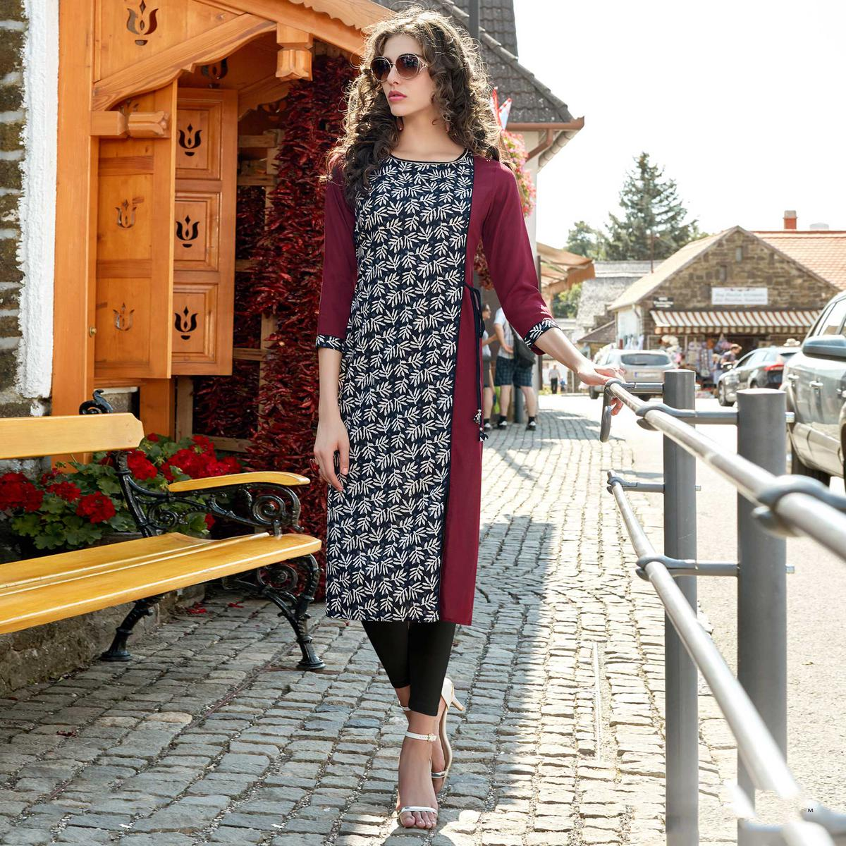 Black Cotton Printed Designer Kurti
