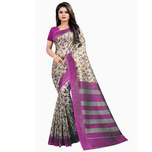 Beautiful Magenta Pink Colored Festive Wear Printed Mysore Silk Saree