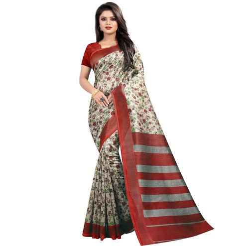 Gorgeous Red Colored Festive Wear Printed Mysore Silk Saree