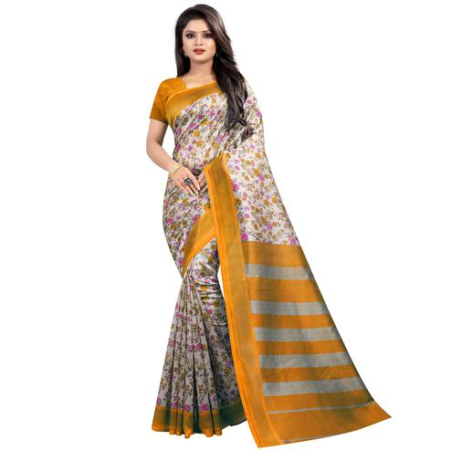 Classy Yellow Colored Festive Wear Printed Mysore Silk Saree