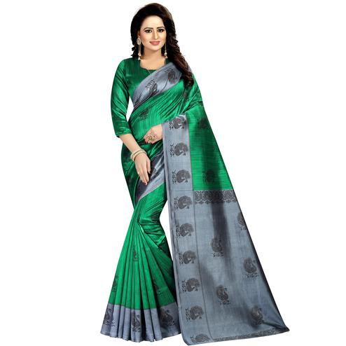 Glorious Green Colored Festive Wear Printed Mysore Silk Saree