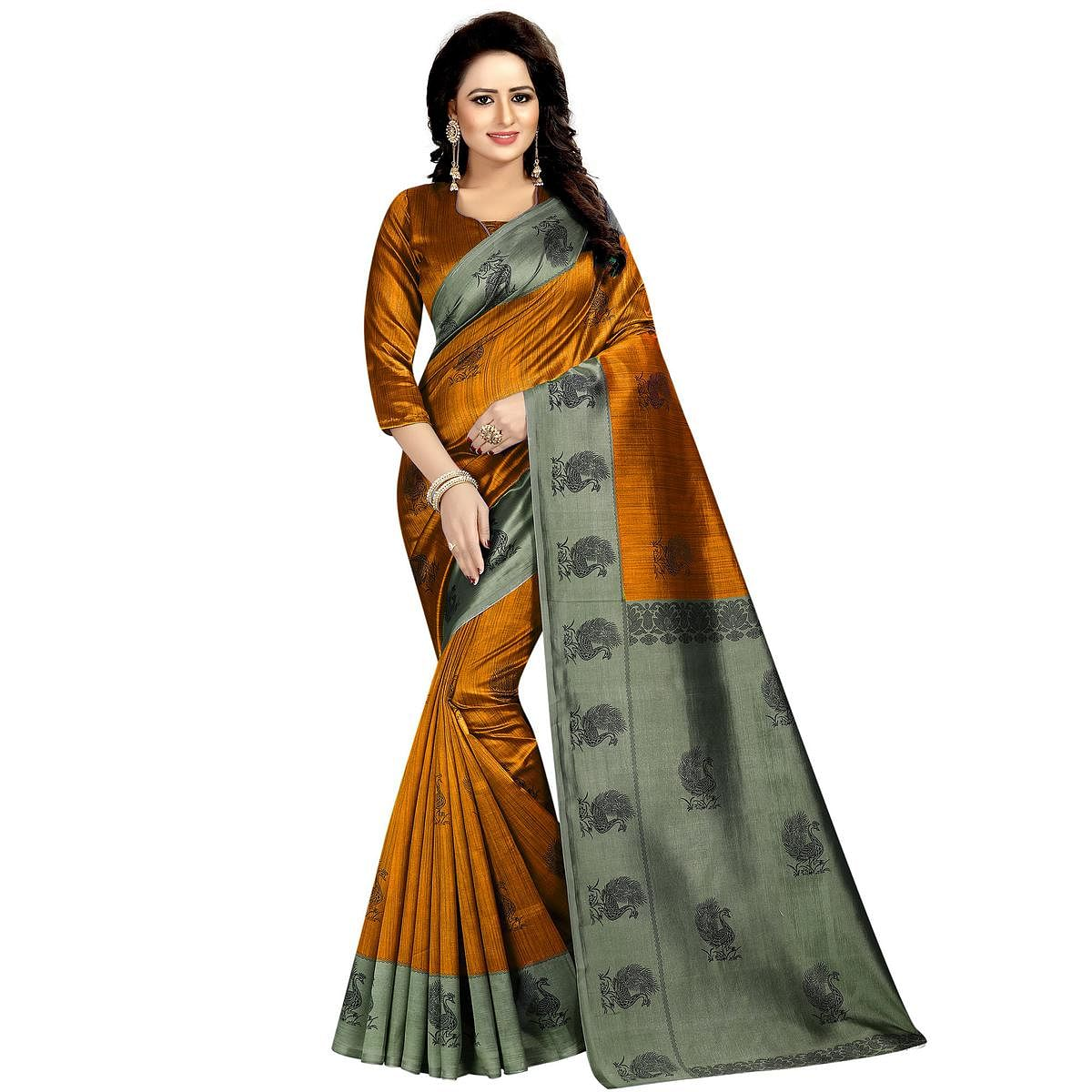 Graceful Rust Orange Colored Festive Wear Printed Mysore Silk Saree