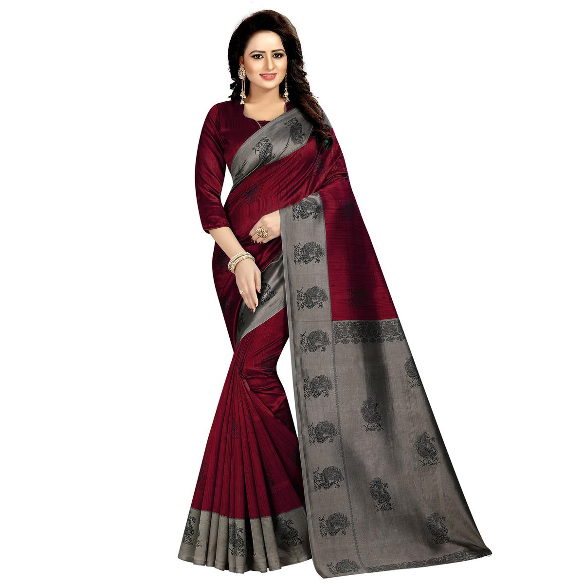 Lovely Wine Colored Festive Wear Printed Mysore Silk Saree