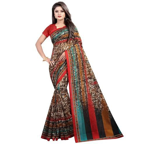 Pretty Multi Colored Casual Wear Printed Mysore Silk Saree