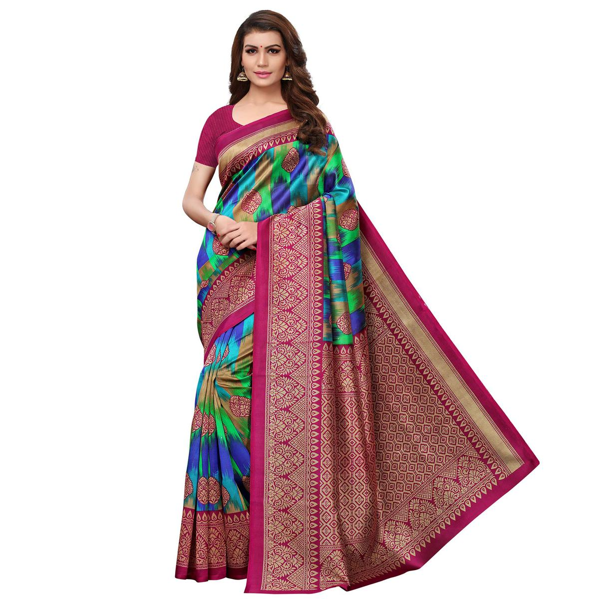 Charming Blue - Magenta Pink Colored Festive Wear Printed Mysore Silk Saree