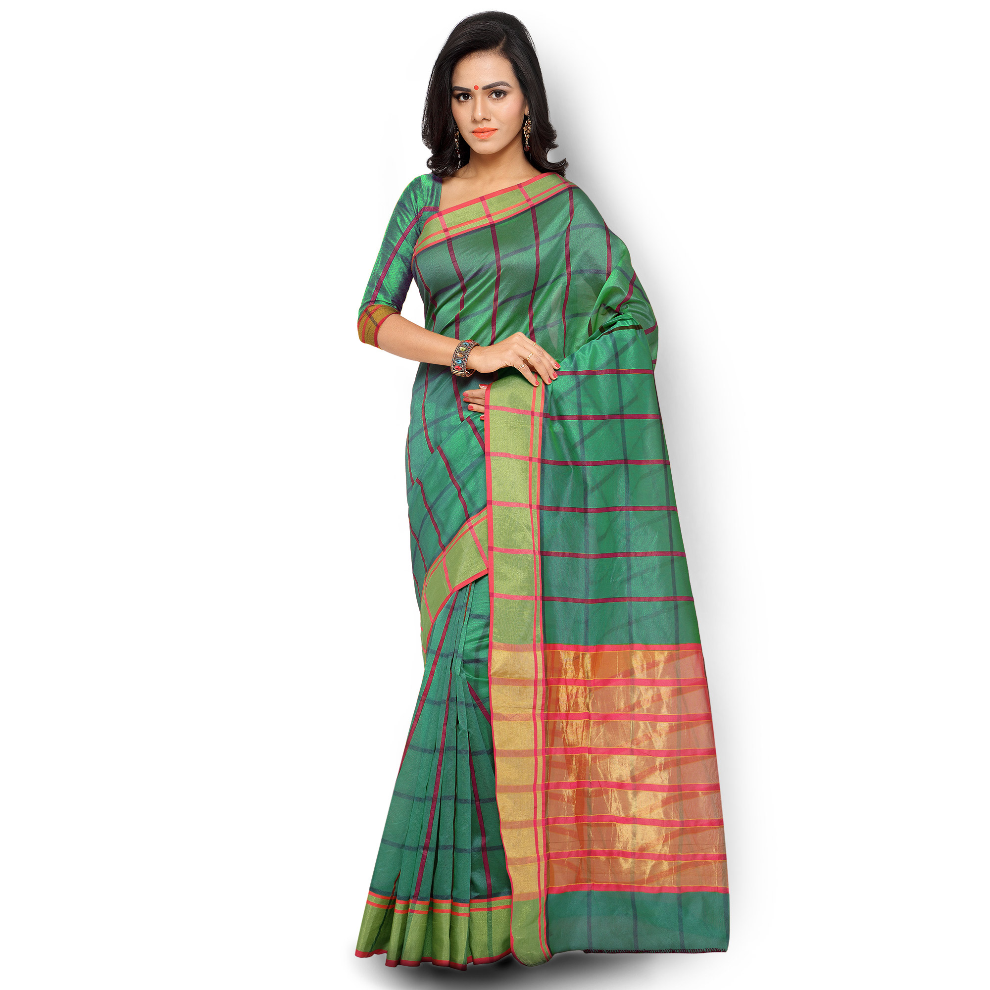 Green Checkered Woven Saree