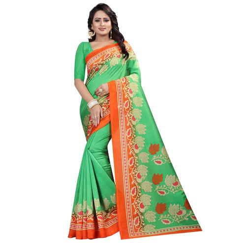 Stunning Green Colored Festive Wear Printed Mysore Silk Saree