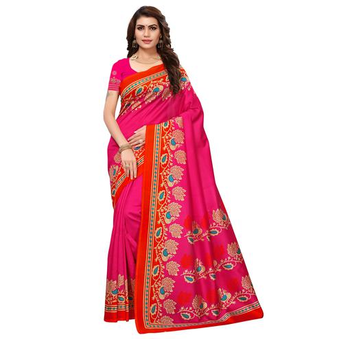Blooming Pink Colored Festive Wear Printed Mysore Silk Saree
