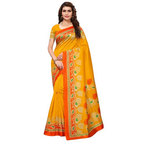 Mesmerising Yellow Colored Festive Wear Printed Mysore Silk Saree
