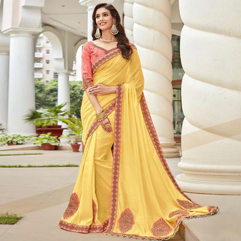 Mesmeric Yellow Colored Partywear Embroidered Georgette Saree