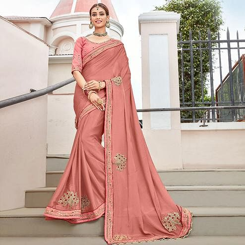 Energetic Peach Colored Partywear Embroidered Georgette Saree