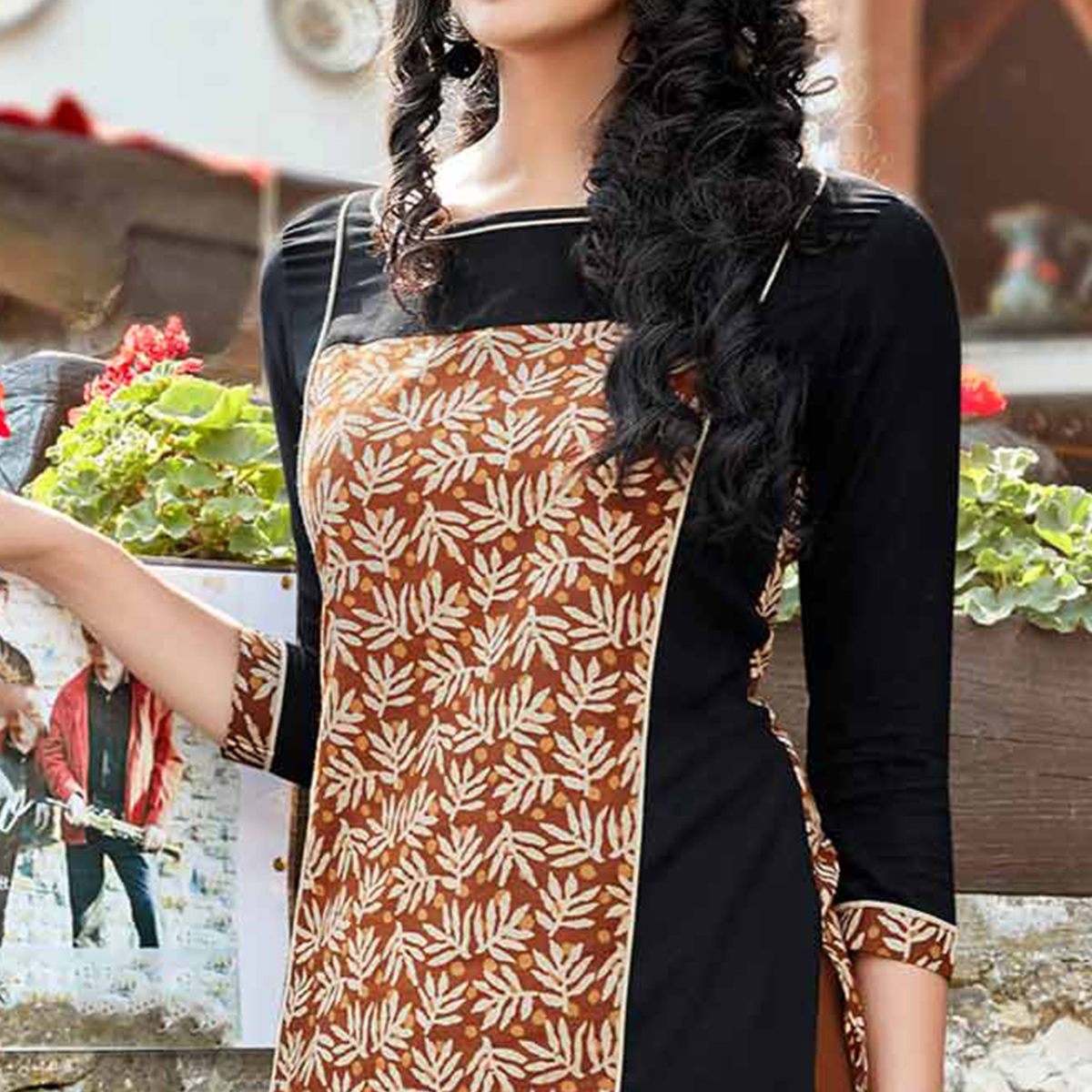 Brown Cotton Printed Designer Kurti