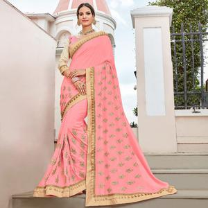Flirty Pink Colored Partywear Embroidered Georgette Saree
