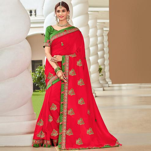 Ethnic Red Colored Partywear Embroidered Georgette Saree