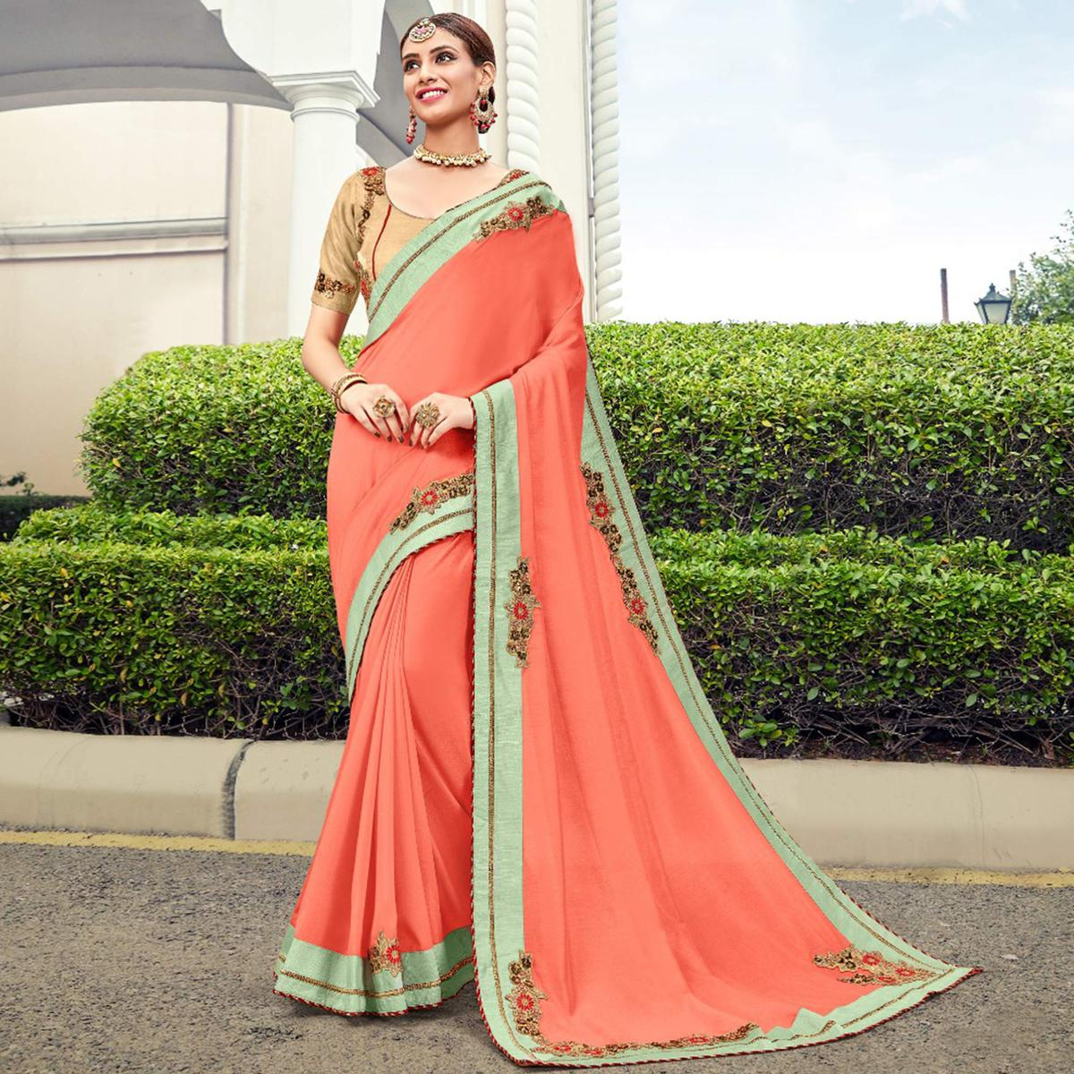 Excellent Peach Colored Partywear Embroidered Georgette Saree