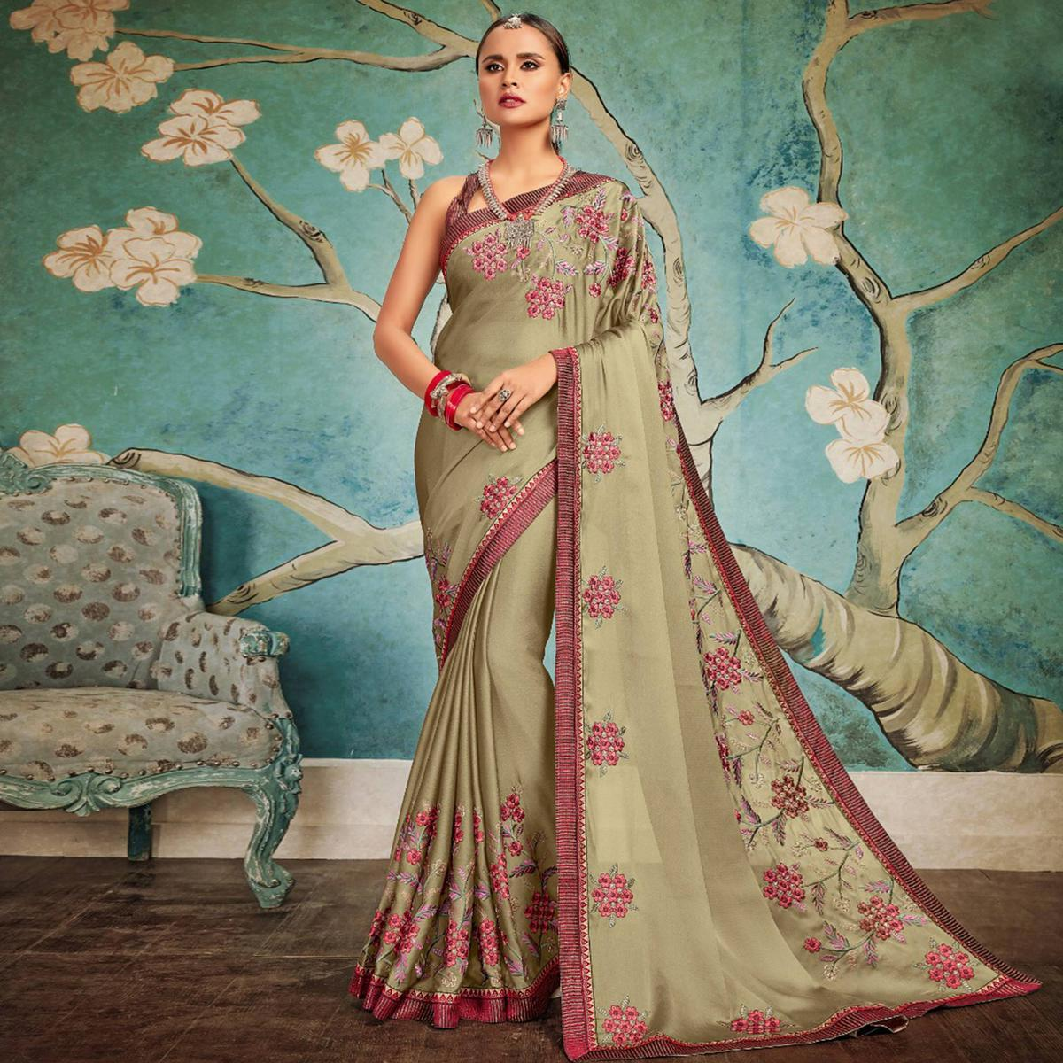 Intricate Olive Green Colored Party Wear Embroidered Georgette Saree