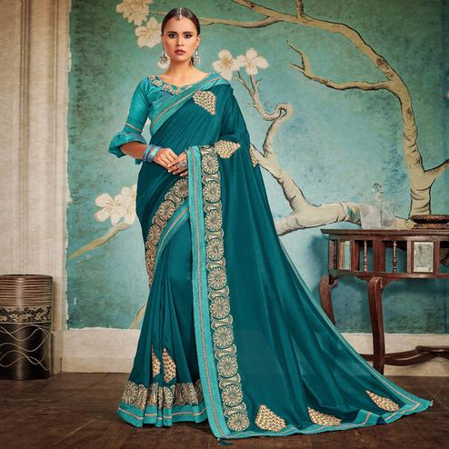 Desirable Blue Colored Party Wear Embroidered Georgette Saree