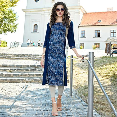 Blue Cotton Printed Designer Kurti