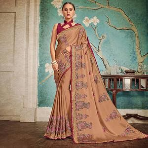 Demanding Brown Colored Party Wear Embroidered Georgette Saree