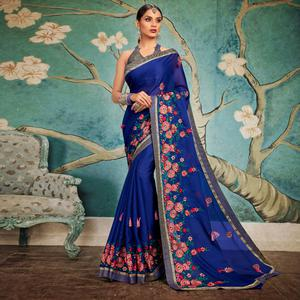 Pleasant Dark Blue Colored Party Wear Embroidered Georgette Saree